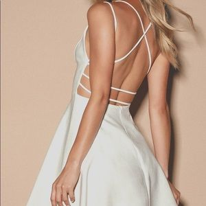 Lulu Believe in Love White Backless Skater Dress